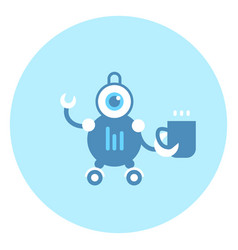 robot holding cup icon modern housework technology vector image