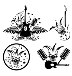 rock gang set with jester skullwings and guitar vector image