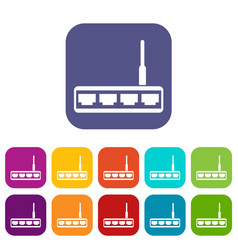 Router icons set vector