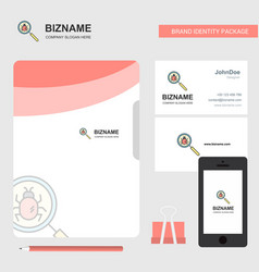 Search bug business logo file cover visiting card vector