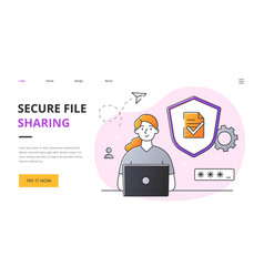 Secure file sharing abstract concept vector