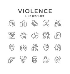 Set line icons violence vector