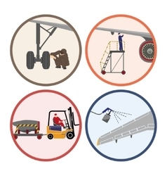 Set of images Mechanic repairing an airplane vector