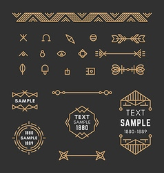 Set of line art decorative geometric frames vector