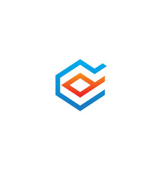 shape line geometry technology logo vector image