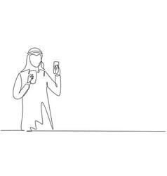 Single one line drawing smiling arabian man vector