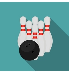 Skittles and Bowling Ball Flat Style Icon with vector