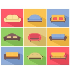 Sofas and Couches Icons Set vector image vector image