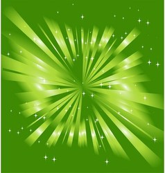 Sparkling stars on green ray background vector image