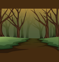 Spooky forest of halloween on the night vector