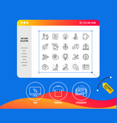 startup line icons set of launch project vector image