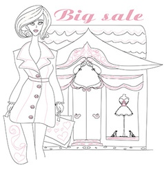 Stylish girl shopping doodle vector image