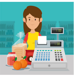supermarket seller woman character vector image