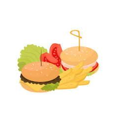 two burgers french fries and tomatoes fast food vector image
