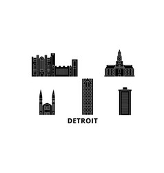 United states detroit flat travel skyline set vector