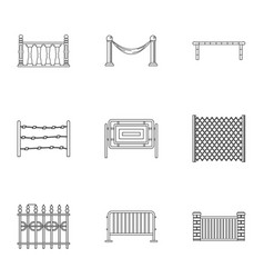 urban fence icons set outline style vector image