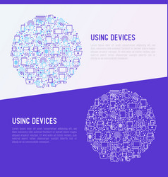 using devices concept in circle vector image