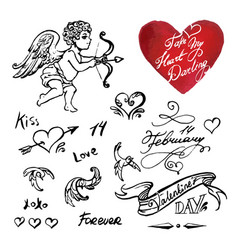 valentines day symbols and elements icons vector image