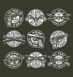 Vintage monochrome military weapons round emblems vector