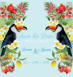 Wedding card with tropical flowers fruits toucan vector