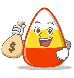 With money bag candy corn character cartoon vector