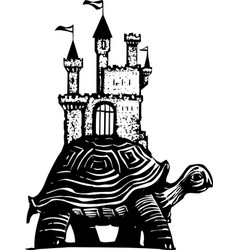 Woodcut style castle turtle vector