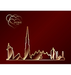 Gold silhouette of Dubai on red background vector image