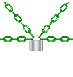 Green chains locked by padlock in silver design vector