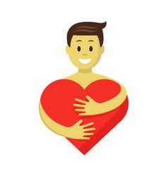 happy man in love hugging red heart romantic vector image vector image