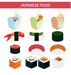 japanese food sushi and seafood sashimi rolls vector image