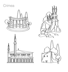 landmarks of crimea set of icons drawing vector image vector image