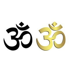 Om symbol in black and gold vector image