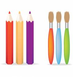 pencils and paintbrushes vector image