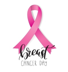 Breast Cancer Awareness pink Ribbon with lettering vector image vector image