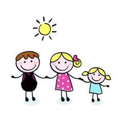 doodle cartoon family vector image
