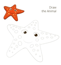 Draw the fish animal starfish educational game vector image vector image