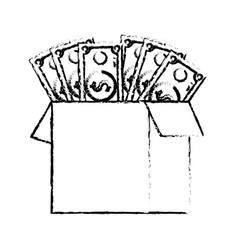 figure box open with bills dollar vector image vector image