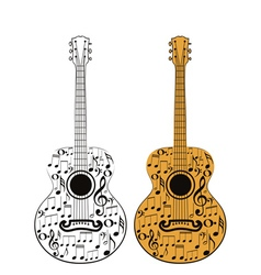 Guitar and Music Notes2 vector image vector image