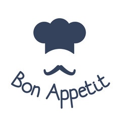 Icon of chef with mustache and sign bon appetit vector