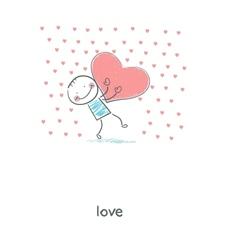 Man holding hearts vector image