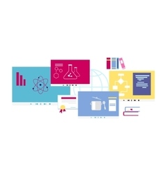 Online Course Icon Flat Design Style vector image