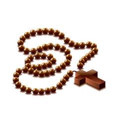 rosary with cross isolated vector image vector image