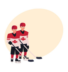 two hockey players in canadian uniform standing vector image