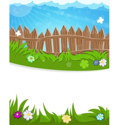 Fence on green meadow vector image