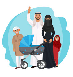 friendly arabic cartoon family stands together vector image vector image