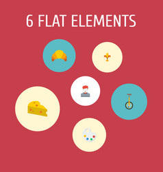 icons flat style cheese artist croissant and vector image