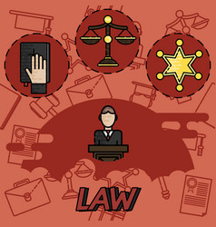 law flat concept icons vector image vector image