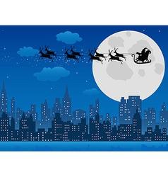 Santas sleigh over urban skyline vector image