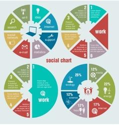 social circular diagrams vector image vector image