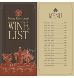 wine menu list vector image vector image